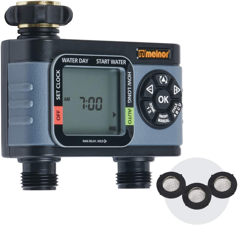 Melnor 65076-AMZ HydroLogic 2-Zone Digital Water Timer with 3 washers Set,  Bundle : Garden & Outdoor