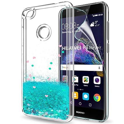 LeYi Funda Huawei P8 Lite 2017 / P8Lite 2017 Silicona Purpurina Carcasa con HD Protectores de Pantalla,Transparente Cristal Bumper Telefono Gel TPU ...