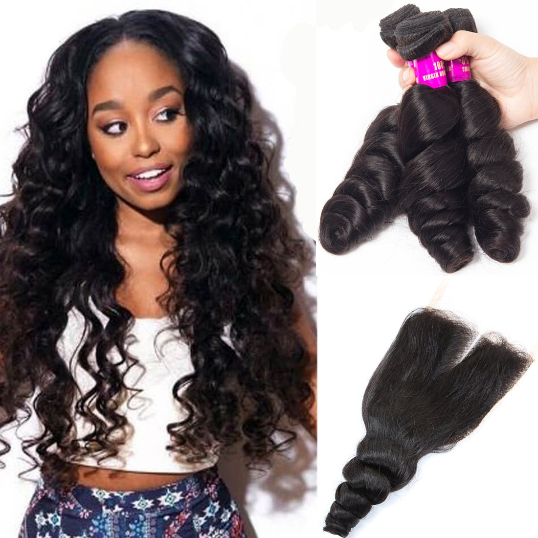 Delicate Tinashe Hair Brazilian Hair Loose Wave Bundles With Closure