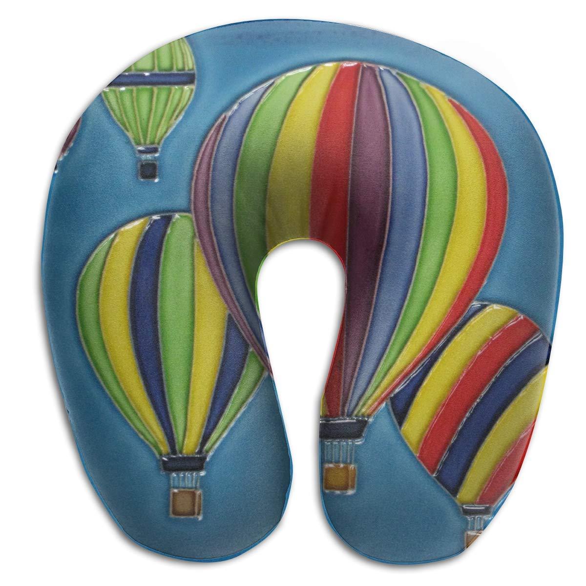 rongxincailiaoke Nackenhörnchen Beautiful Balloon Oil Paintings U Shaped Travel Neck Pillow Portable Head Neck Rest Memory Foam Pillows for Office Napping, Airplanes, Car Decor Seitenschläferkissen