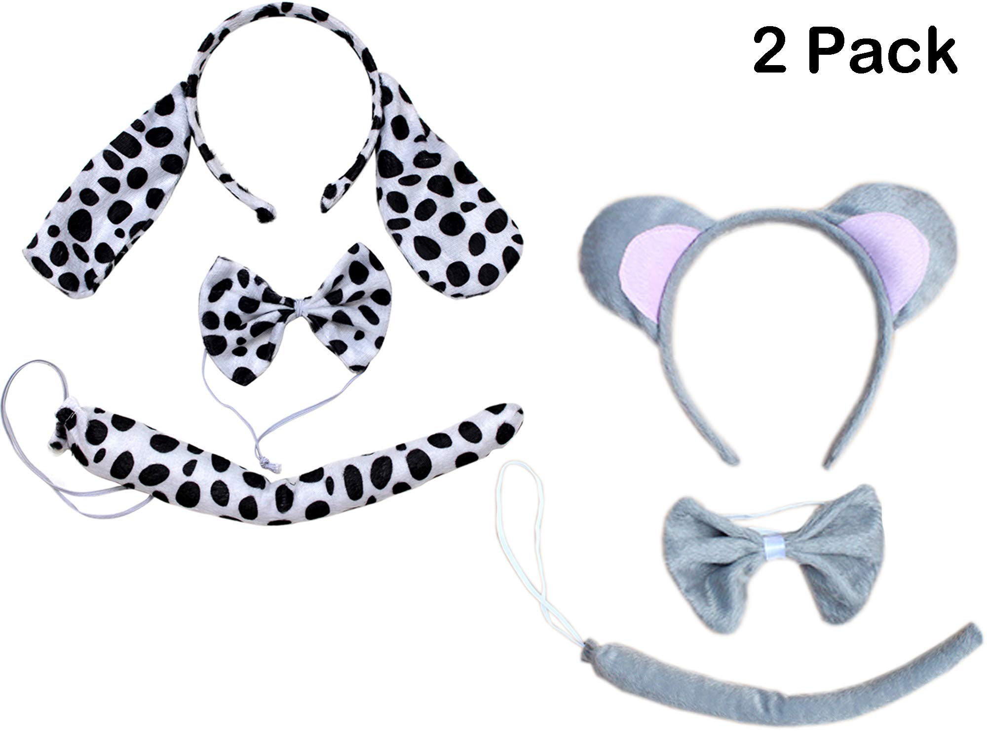 Kids Animals Dalmatian Mouse Wolf Tiger Antlers Party Costume Christmas Headband (Dappled Dalmatian + Grey Mouse (2PCs))