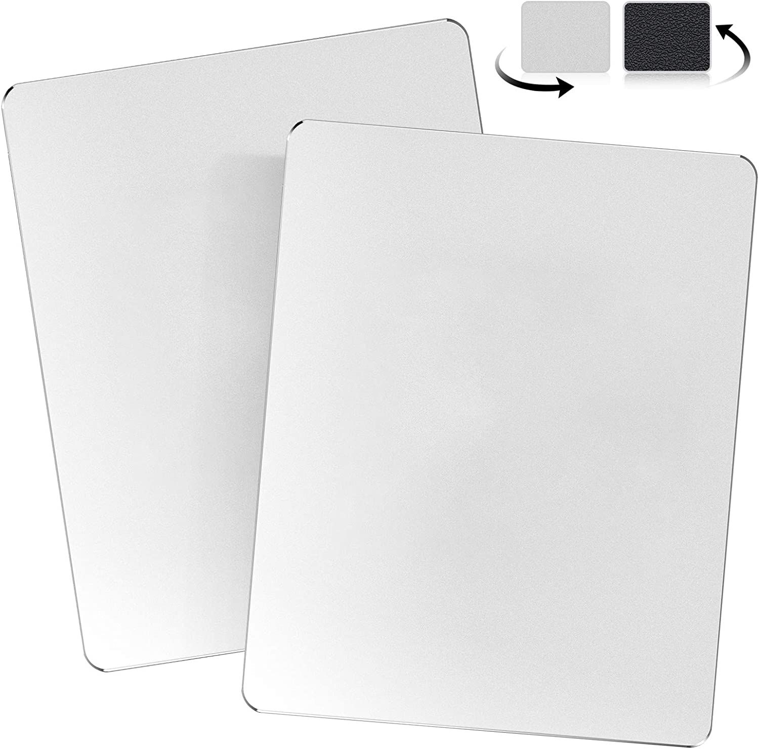 JEDIA 2 Packs Mouse Pad, Silver Premium Hard Metal Aluminum Mouse Pad, Ultra Smooth Double Side Waterproof Fast and Accurate Control Mousepad for Gaming, Office and Home, 9.4