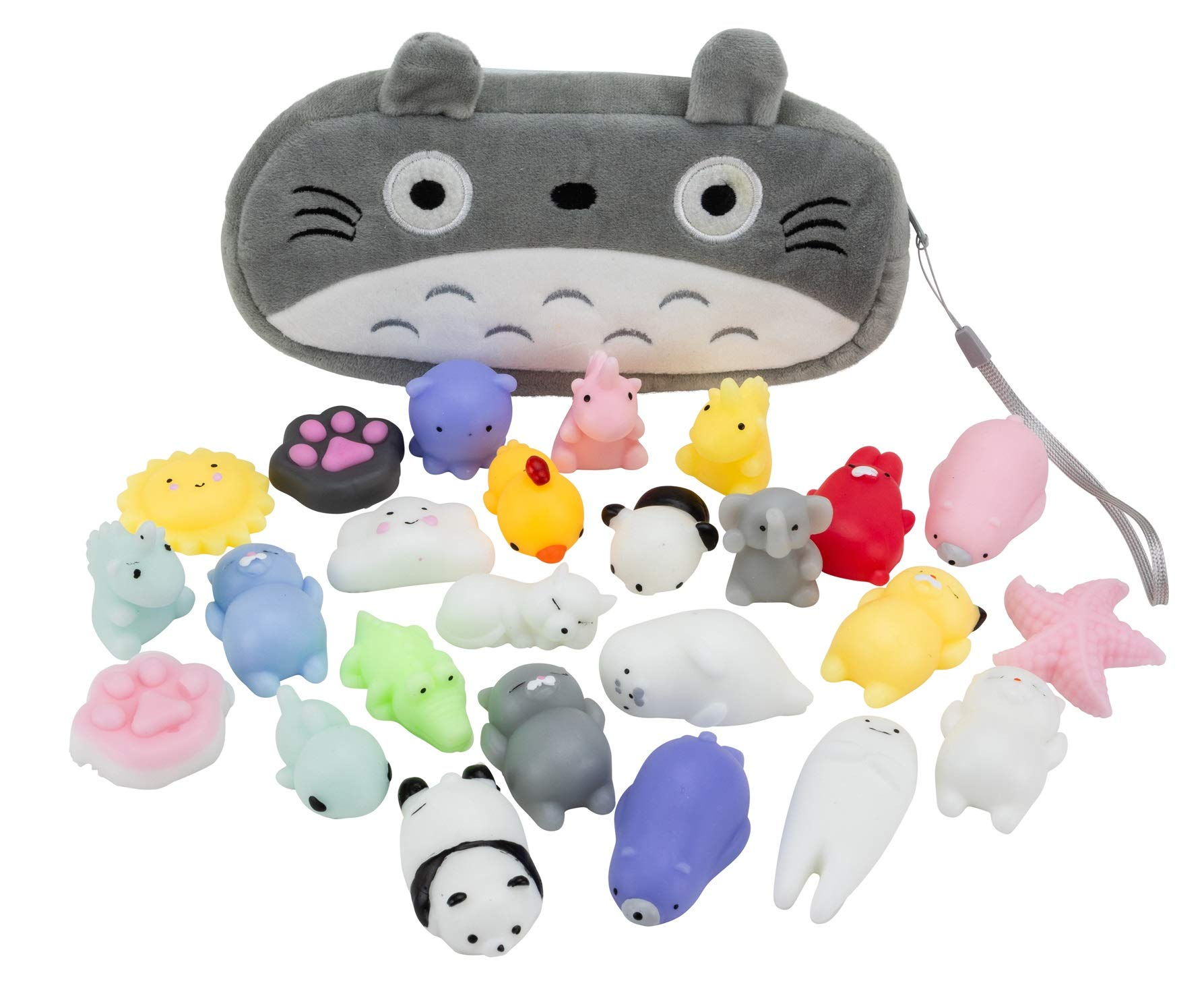 The Original Mochi Squishy Toys - 25 Kawaii Squishy Animals with a Totoro Bag - Cute Squishies Perfect for Birthday Goodie Bags, Party Favors, Stress Relief Toys, and Easter Egg Stuffers by PlayPlanet