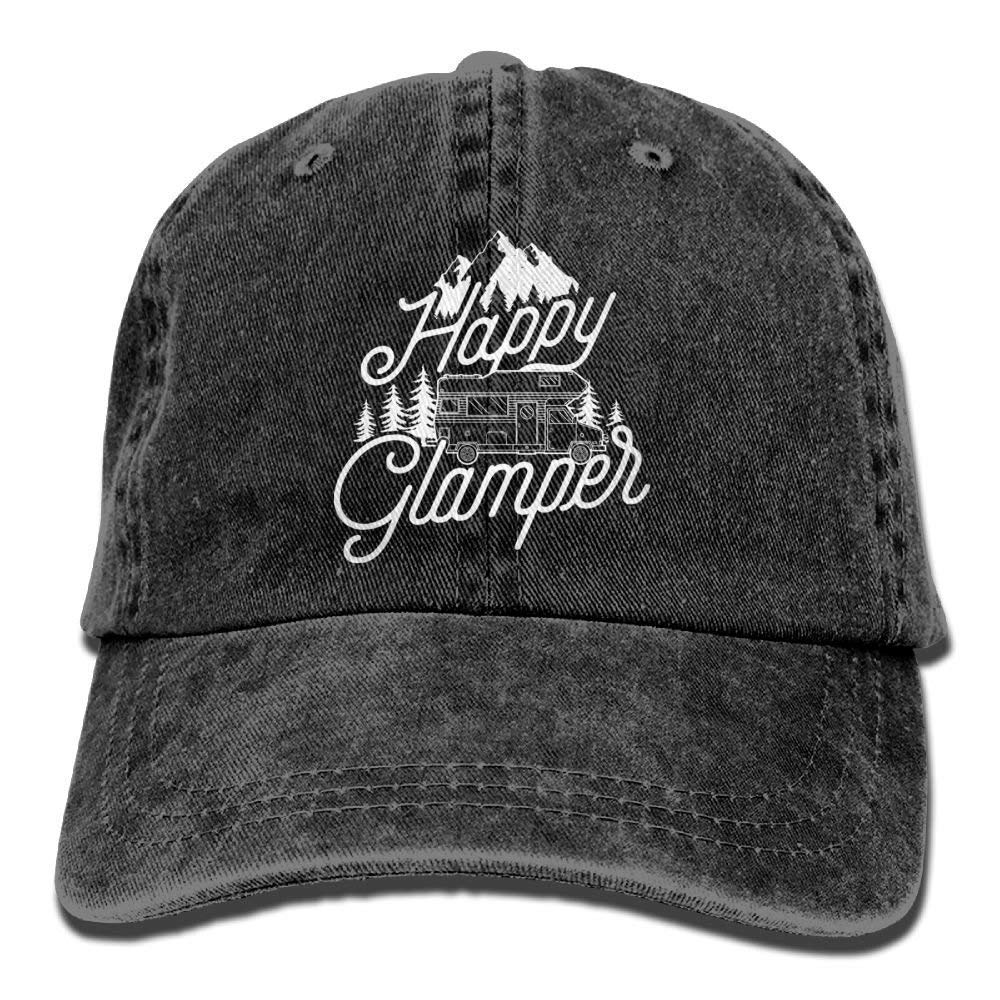 JTRVW Cowboy Hats Happy Glamper Denim Hat Adjustable Female Baseball Hat