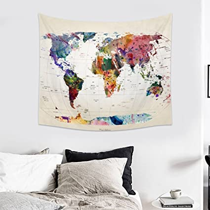 Jeteven Vintage World Map Tapestry Wall Hanging Mandala Indian Tapestries  Hippie Print Tapestry Picnic Beach Sheet Table Cloth 150 x 130cm A
