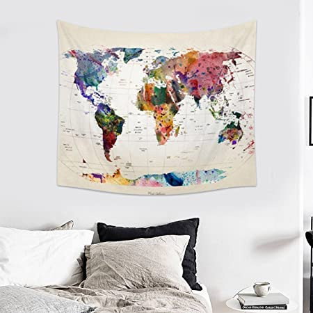 Jeteven Vintage World Map Tapestry Wall Hanging Mandala Indian - Mandala map of the world