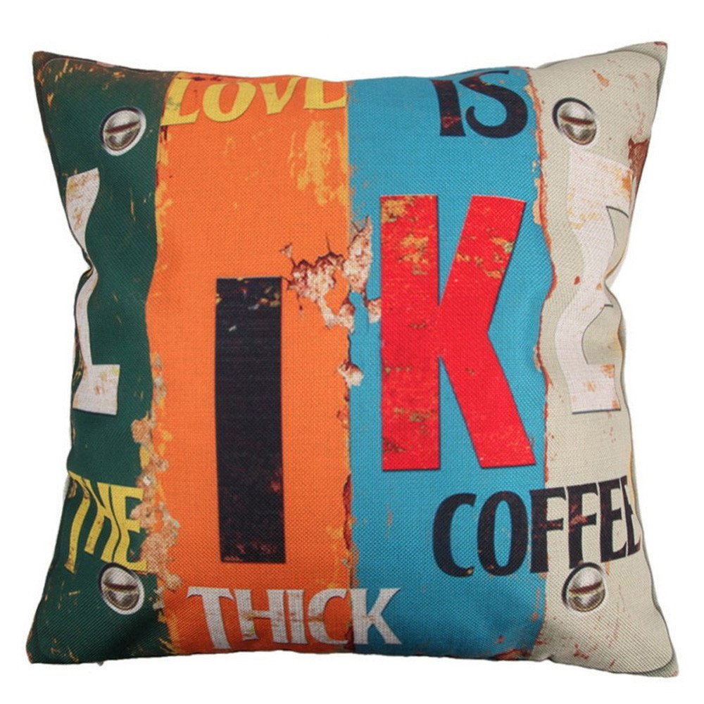 Pgojuni Creative Home Love Fashion Pillowcase Cotton Linen Decoration Throw Pillow Cover Cushion Cover Square Pillow Case for Sofa/Couch Home Decor 1pc (N)