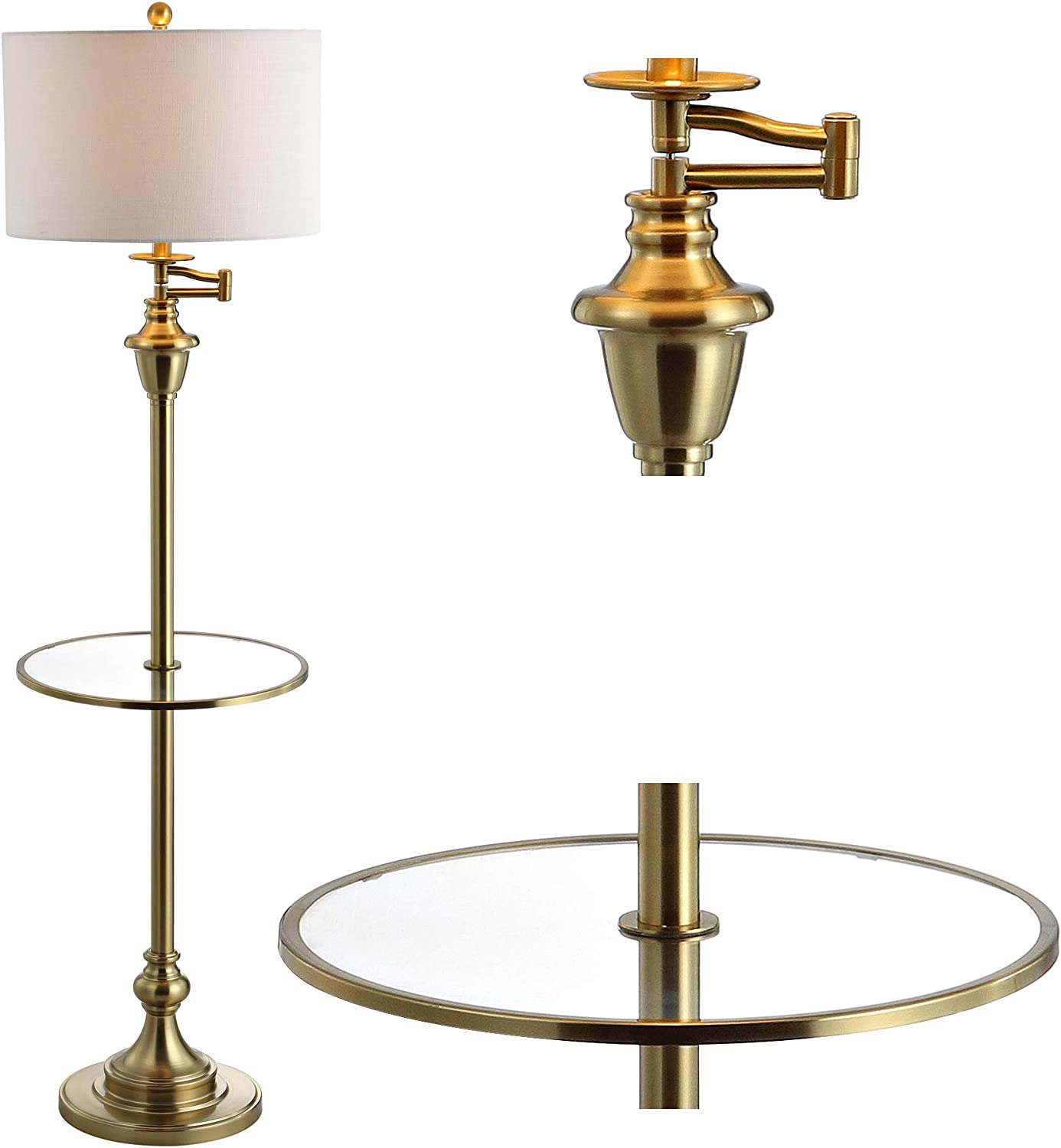 Amazon Com Jonathan Y Jyl3055a Cora 60 Metal Glass Led Side Table And Floor Lamp Contemporary Transitional For Bedrooms Living Room Office Reading Brass Gold Home Improvement