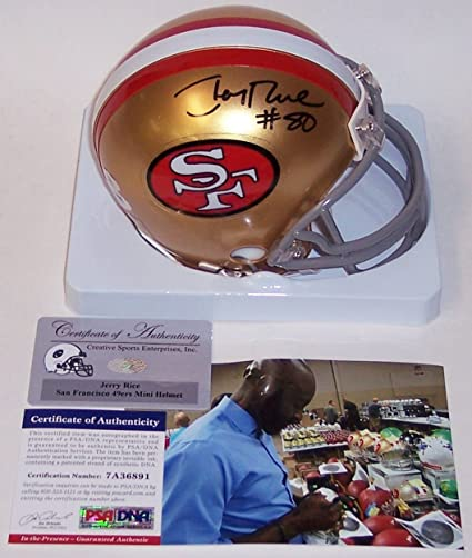 fd3af8318 Image Unavailable. Image not available for. Color  Jerry Rice Autographed  Hand Signed San Francisco 49ers Throwback Mini Football Helmet - PSA DNA