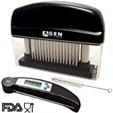 GenKitchen Meat Tenderizer And Cooking Thermometer Bundle: 48 Stainless Steel Blades For Quick And Easy Results, Strong Metal Needles, For Juicy Chicken, Beef, Pork, Lamb, Steak And Fish