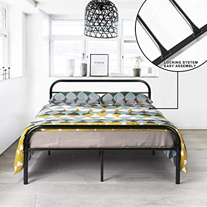 Aingoo Cama de metal con somier de láminas con marco (Negro, 140_x_190_cm): Amazon.es: Hogar