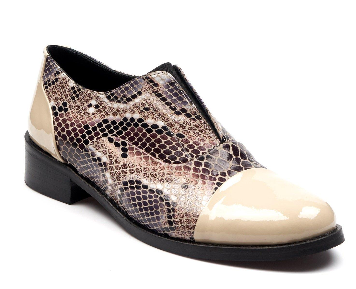 BOBERCK Colección Miranda Zapato de Cuero Estilo Oxford para Mujer 8 US|Beige
