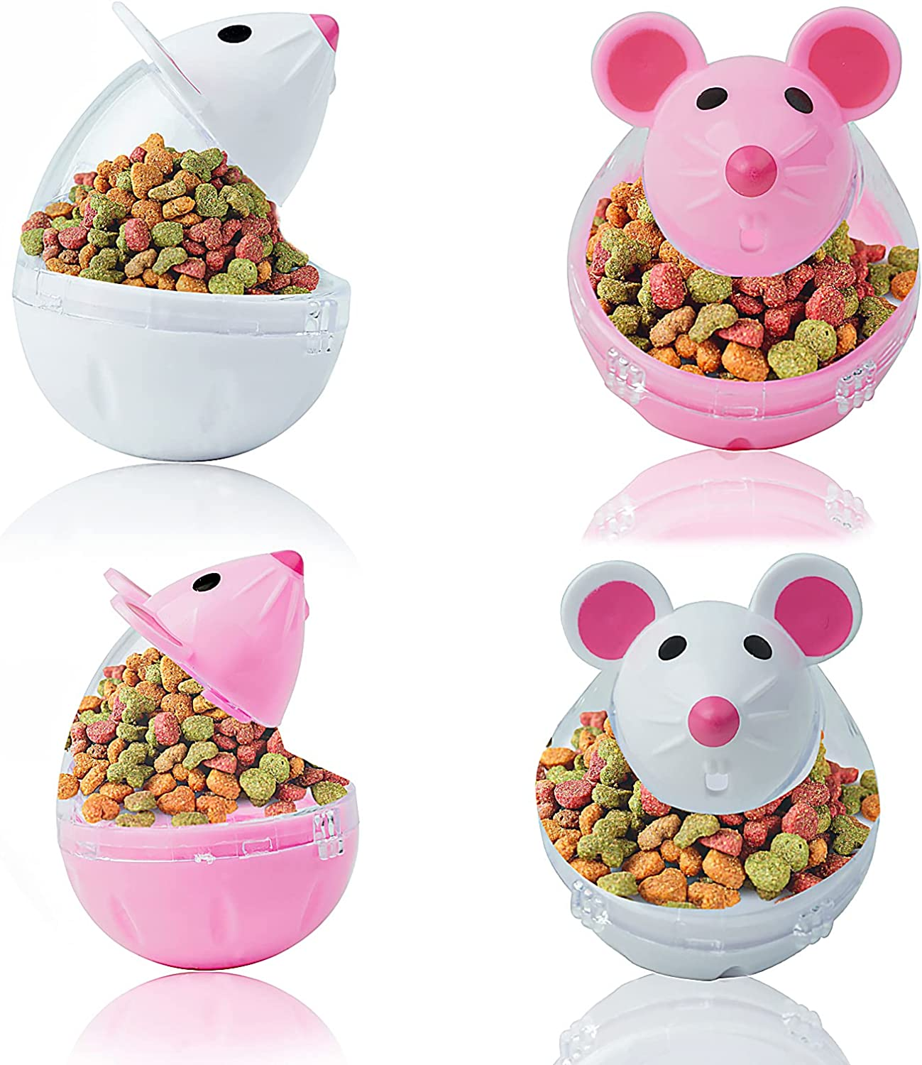 GEKUPEM 4 Pack Cat Food Dispenser Cat Treat Toy Feeder Toy for Interactive IQ Treat Training Mouse shape Tumbler ( Pink White)