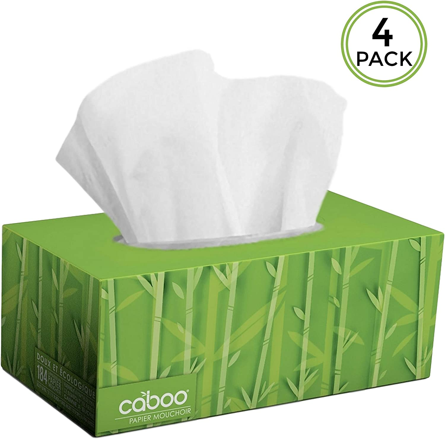 Caboo Tree Free Bamboo Facial Tissue Paper, Eco Friendly 2 Ply Tissue Flat Box - 184 Sheets Per Box, Total of 4 Boxes, 736 Total Tissues