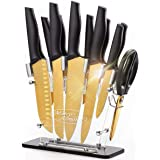 Golden Titanium Knife Set with Acrylic Stand, Kitchen Knives Set with Block, Scissor,Santoku knife,6 Golden Steak Knives Cutl
