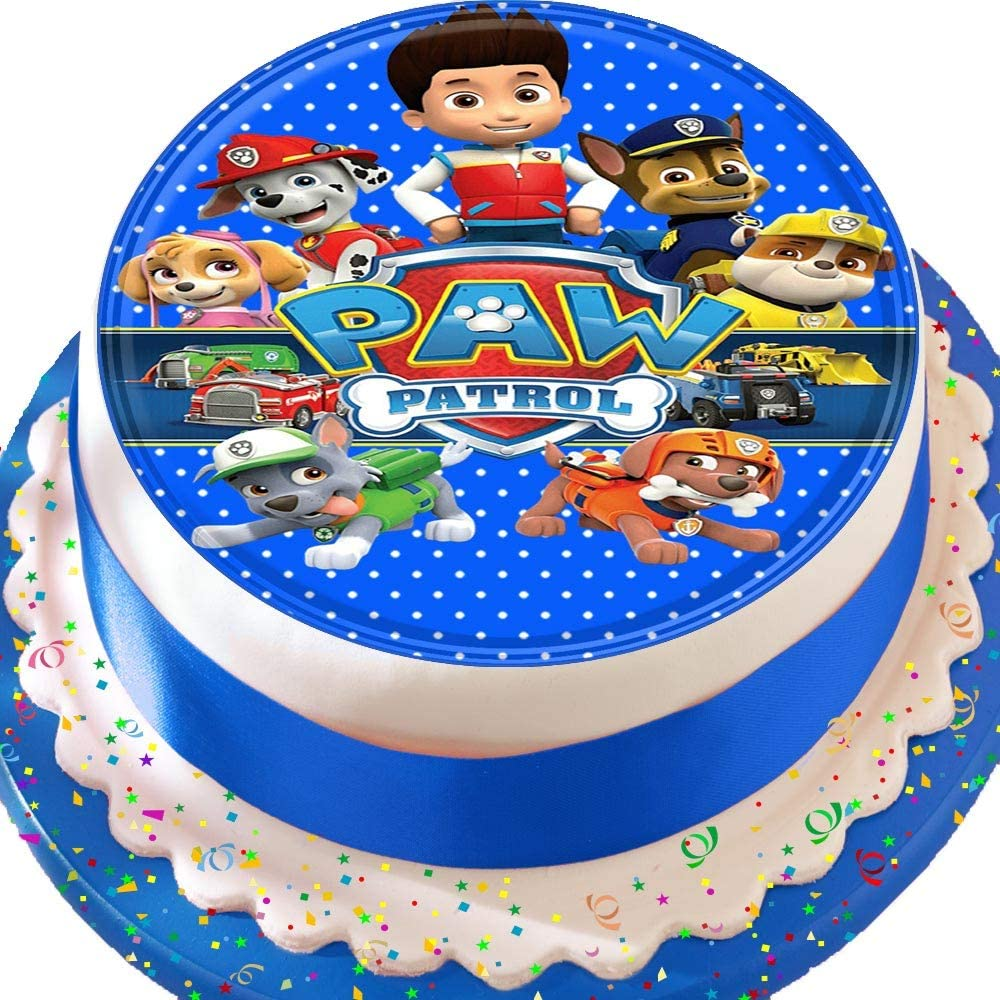 Magnificent Paw Patrol Blue Colourful Birthday Precut Edible Icing Cake Topper Personalised Birthday Cards Veneteletsinfo