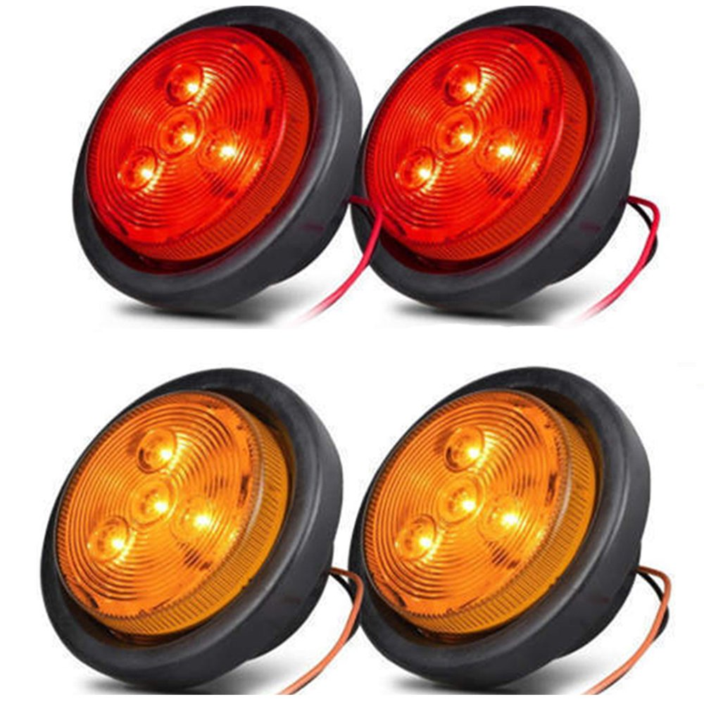 NEW SUN 2.5 LED Clearance Marker Lights for Trailer 4 Diodes Round LED Flush Mount Marker Lights 2 Amber+2 Red 17TKTL101F4