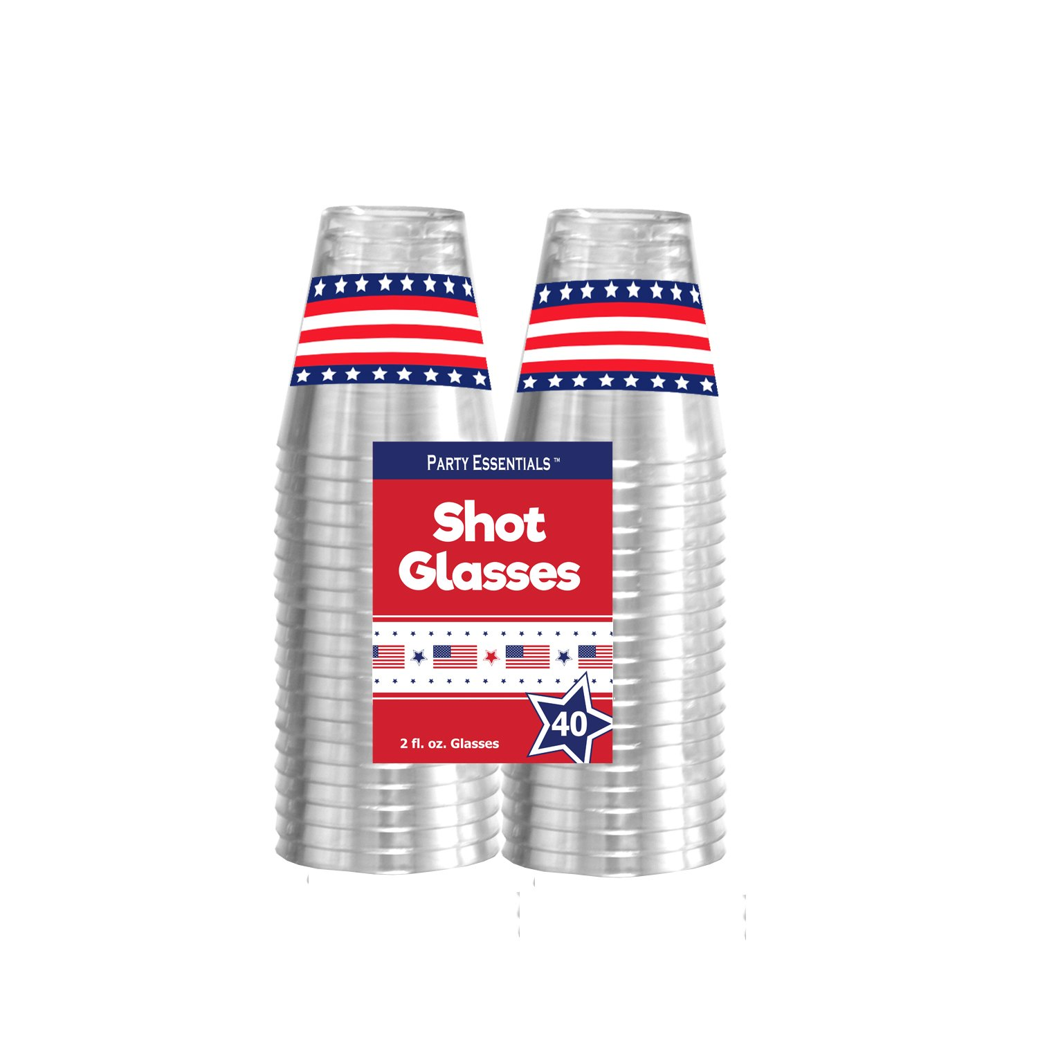 Party Essentials N24050 Hard Plastic Shot Glasses, 2 oz, Flag Print 40 CT. (CASE of 480), 6'' Height, 2'' Width, 4'' Length, Plastic (Pack of 480) by Party Essentials