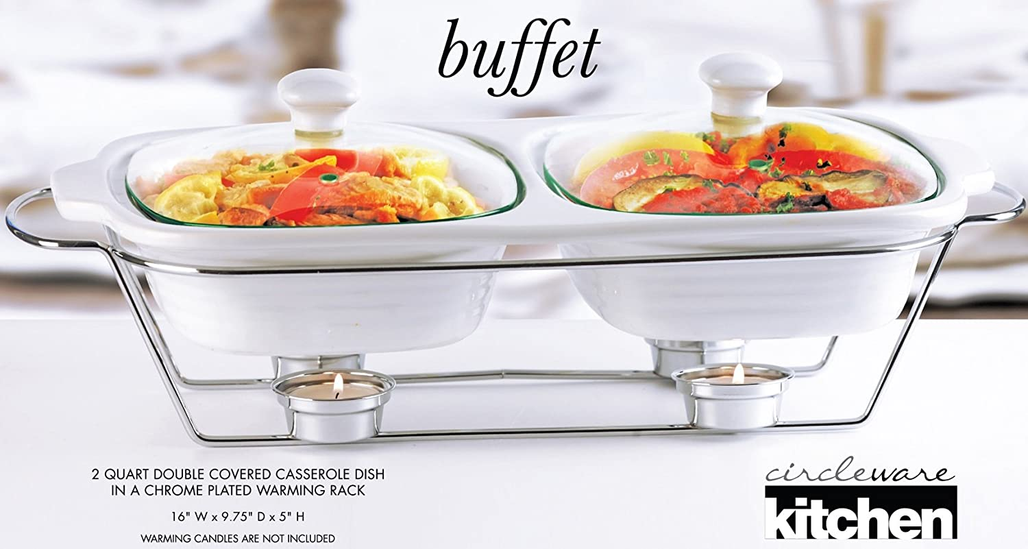 amazon com circleware ceramic double chafer buffet food server rh amazon com Buffet Heating Trays Buffet Server and Warming Tray