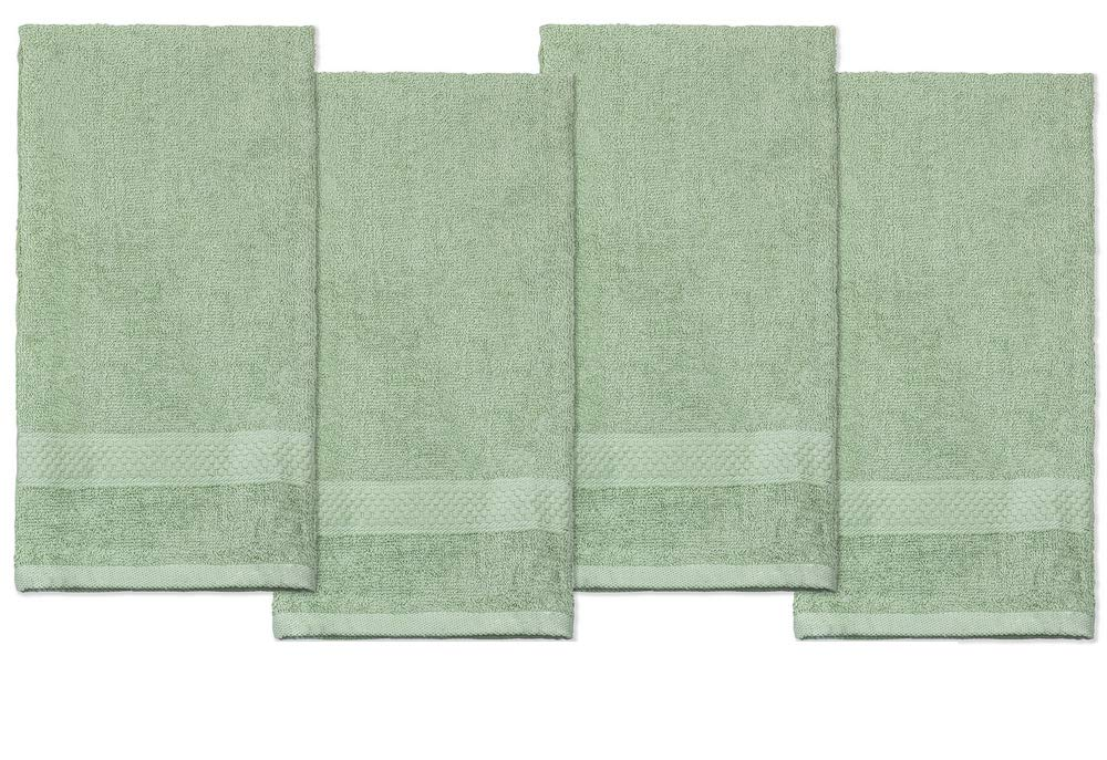 DecorRack 100% Cotton Hand Towels, Ultra Absorbent and Soft Cotton Hand Towel Set, Multipurpose for Bathroom, Spa, Kitchen, Gym and Hair Salon, 16 x 28 Inches, Green (Pack of 4)