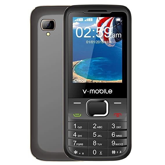 Unlocked GSM Cell Phone, V Mobile D2 Feature Phones 2G-only 2 4 Inch  Dual-SIM Quad-Bands with Bluetooth and Standard SIM Card Slot (Black)