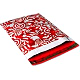 Poly Mailers Candy Cane Christmas Designer Poly Mailers Custom Bags Red & White Shipping Envelopes Plastic Bags #SmileMail (100 10x13, Candy Cane)