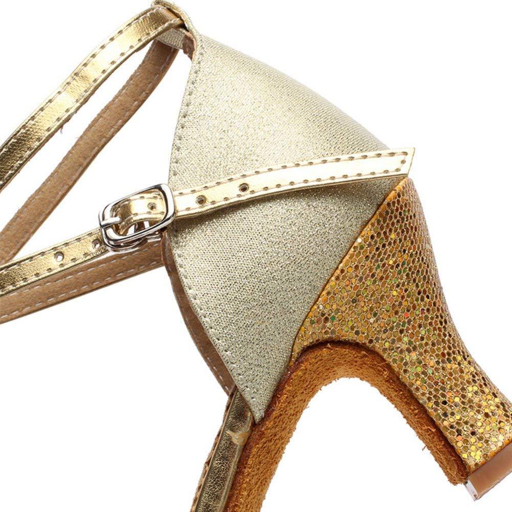ZHRUI damen Pailletten Pailletten Pailletten Latin Dance Schuhe Net Garn Tanzschuhe Modern Dance Schuhe Ballroom Dance Schuhe (Farbe   Golden Größe   Foot Length=22.8CM9Inch) 1961a2