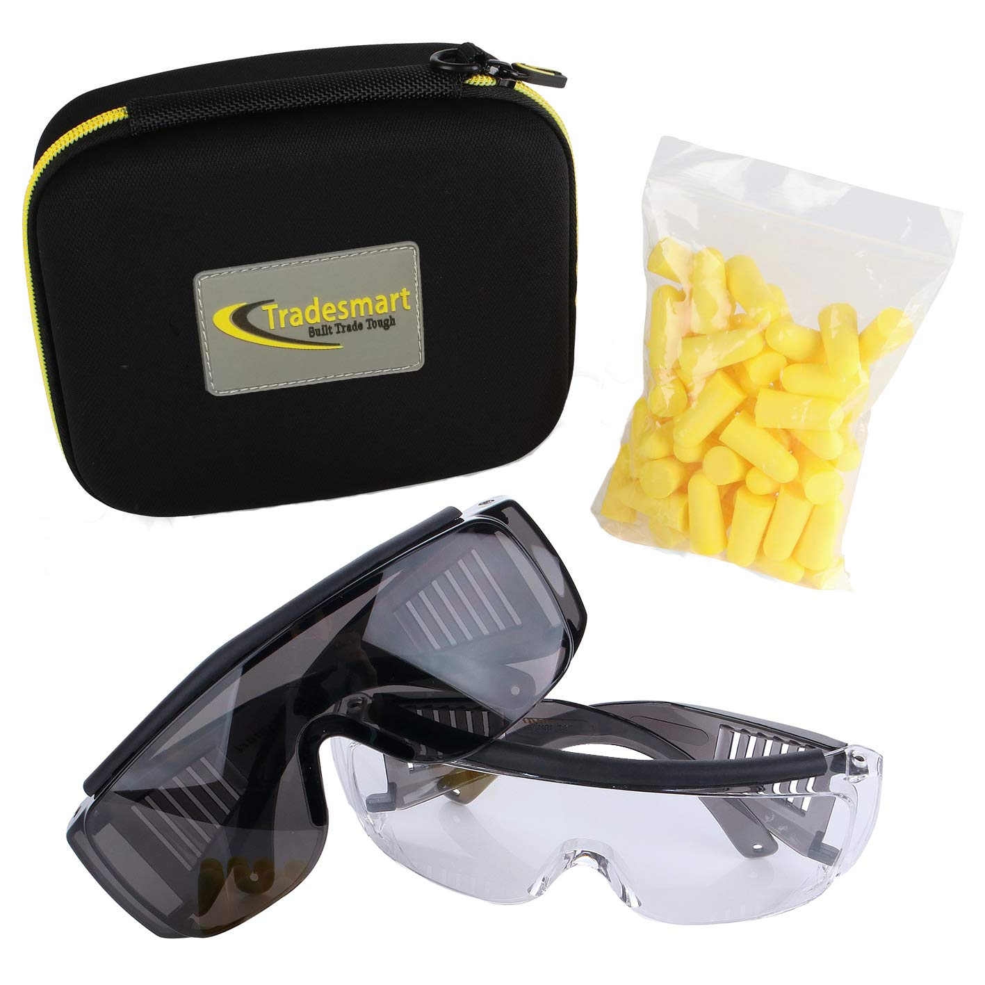 TRADESMART Over-Prescription Safety Glasses & Case - Shooting Ear Plug & Eye Protection for The Gun Range with Hard Case, - UV400 Anti-Fog and Anti-Scratch Indoor & Outdoor Glasses - NRR 33 (Yellow) by TRADESMART BUILT TRADE TOUGH