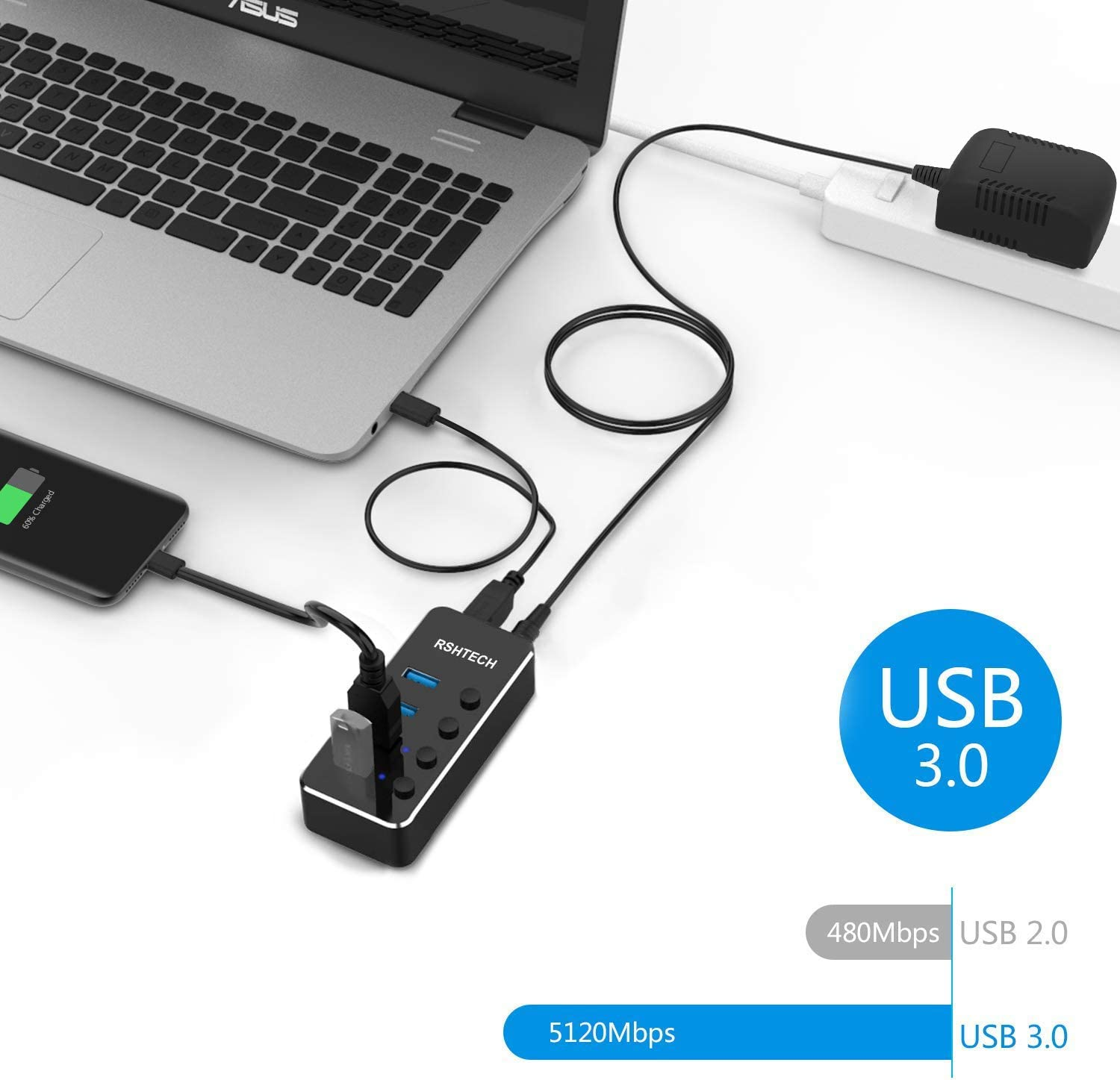 Powered USB 3.0 Hub RSHTECH USB C Hub Aluminum Portable Splitter with Individual On//Off Switches with 5V//2A Power Adapter (4 Ports)