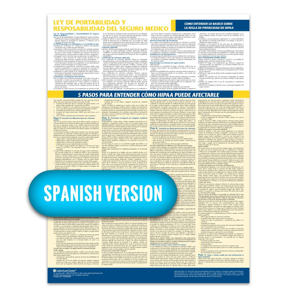 2018 HIPAA Compliance Poster (Spanish) - Laminated & 100% Compliant LaborLawCenter