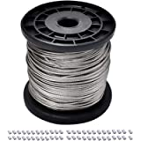 1/16 Wire Rope, 304 Stainless Steel Wire Cable, 7x7 Strand Core, 328FT Length Aircraft Cable, 368 lbs Breaking Strength…