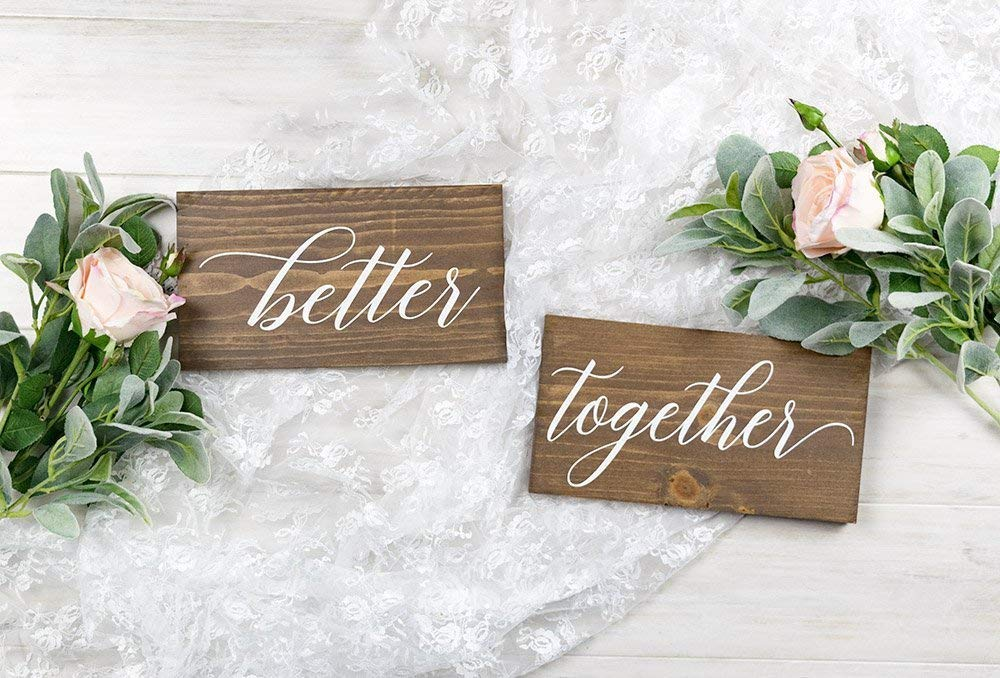 Amazon Com Better Together Wedding Chair Signs Rustic Boho Wedding Reception Decorations Handmade
