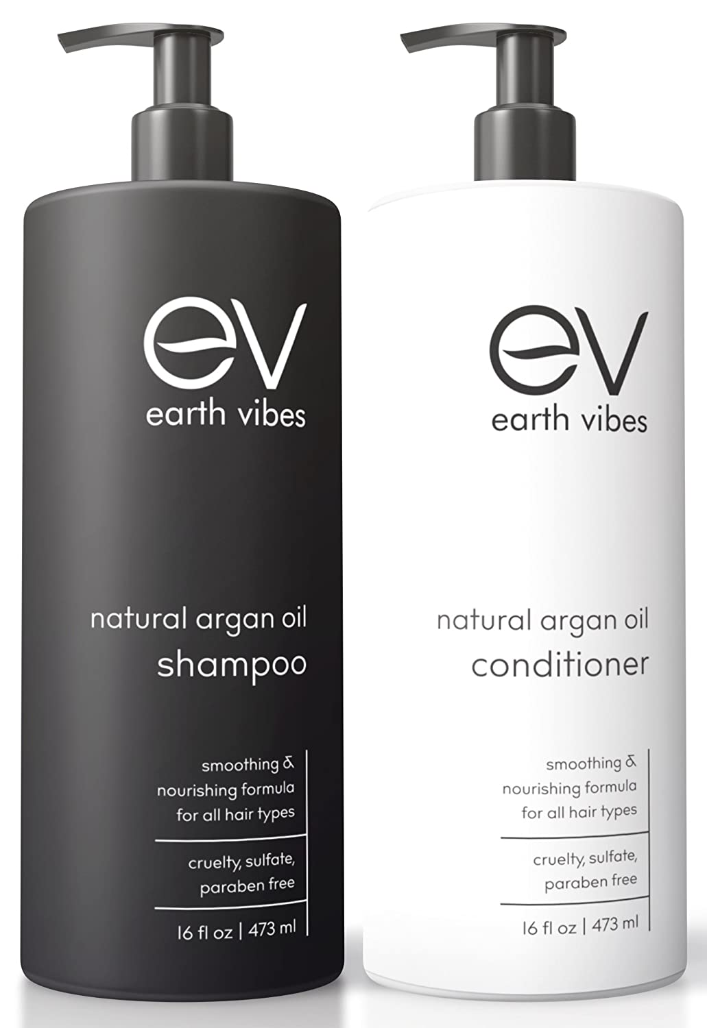 Earth Vibes Organic Natural Moroccan Argan Oil Shampoo & Conditioner Set - Cruelty, Sulfate & Paraben Free - Volumizing & Moisturizing - Gentle On Curly & Color Treated Hair - For Men & Women - 16oz
