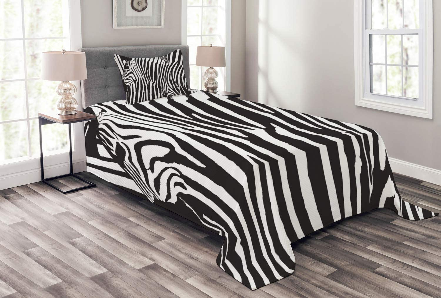 Lunarable Zebra Print Bedspread, Wild Zebra Design with Animal Profile Blended Over Itself Abstract Pattern, Decorative Quilted 2 Piece Coverlet Set with Pillow Sham, Twin Size, Black White