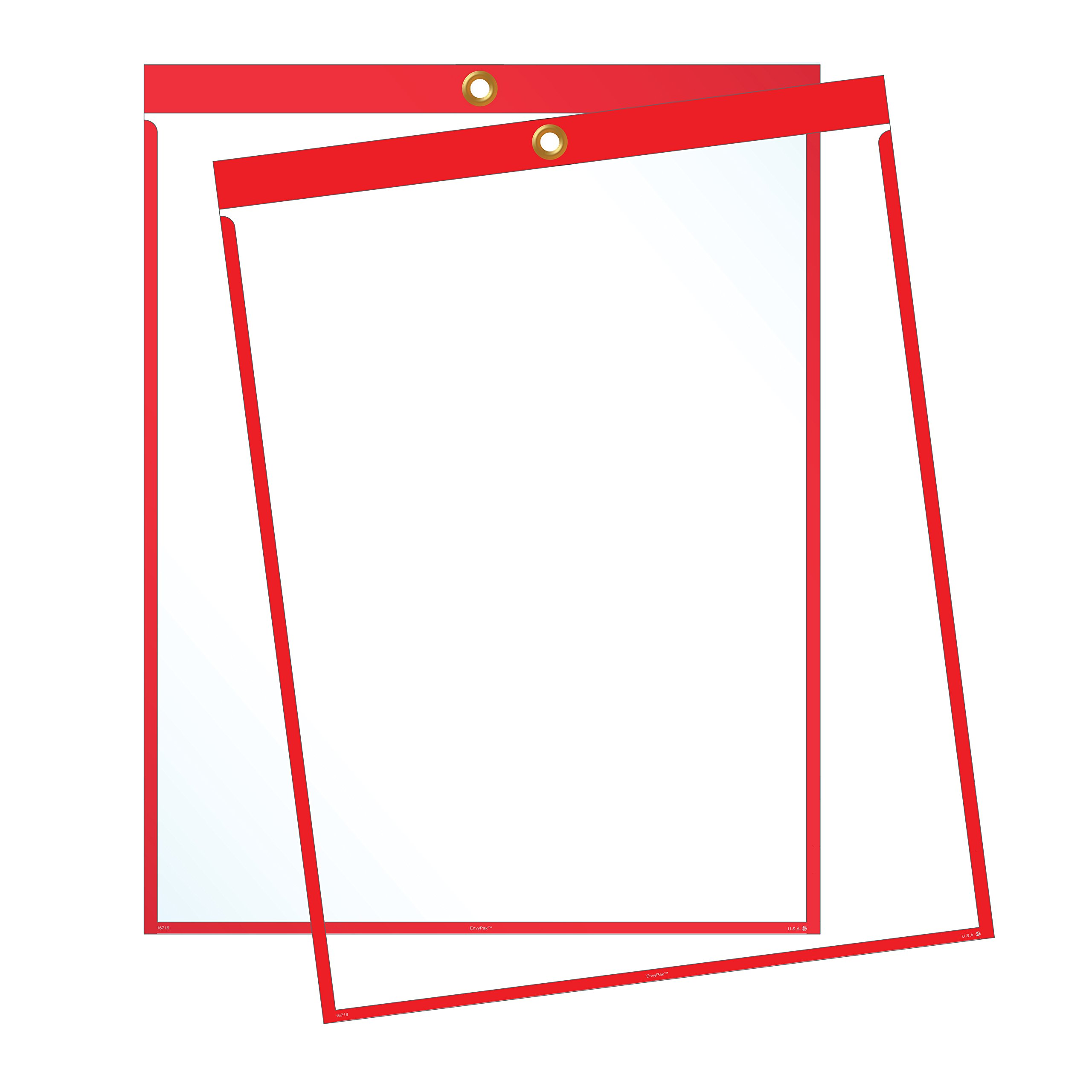 EnvyPak Job Ticket Holders - 9''x12'' - Pack of 30 (red) Top-Loading with Eyelet for Hanging by EnvyPak