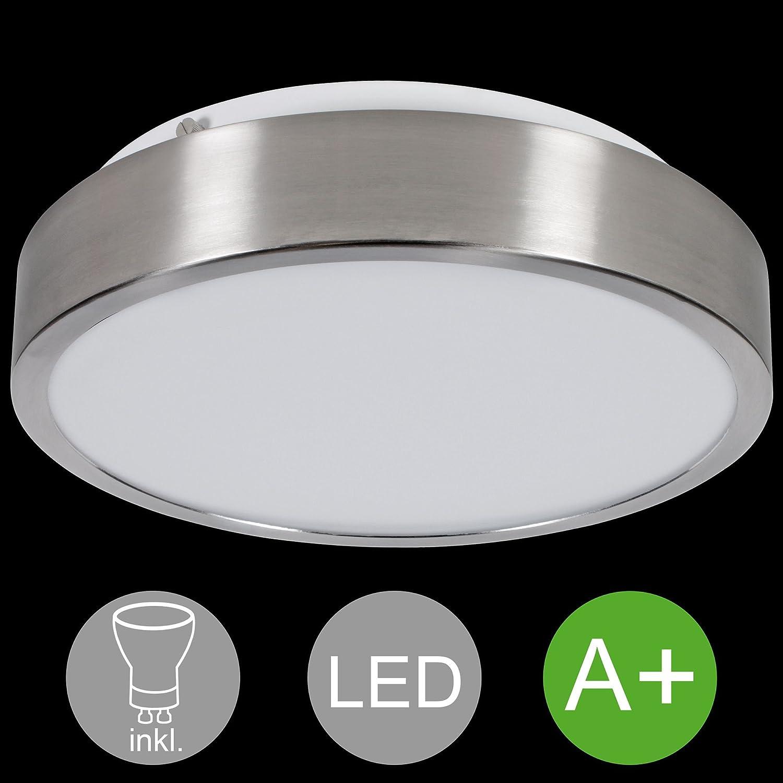 KADIMA DESIGN 1-flammige runde LED Deckenlampe EEK A+ inkl. 1x 18 Watt Leuchtmittel Deckenleuchte Warmweiß IP20 LED Lampe HxBxT 10x35x35cm Silber