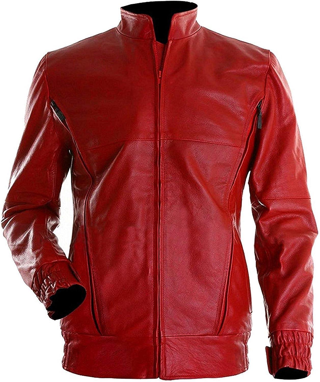 Mens Stylish Red Place Luke Leather Jacket