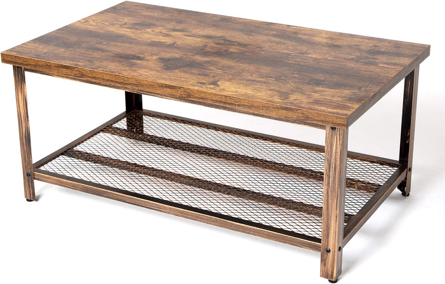 "TOPSKY Coffee Table with 1.18"" Desktop Lower Shelf for Living Room, Stable Rustic Metal Frame (Rustic Brown)"