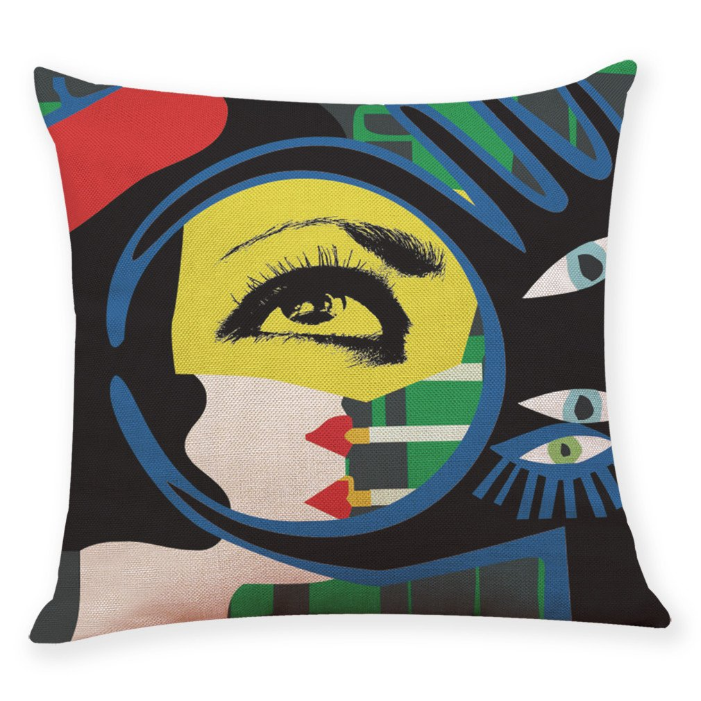 Pgojuni Graffiti Style Throw Cushion Cover Square Pillow Case for Sofa/Car/Bed 1pc (H)