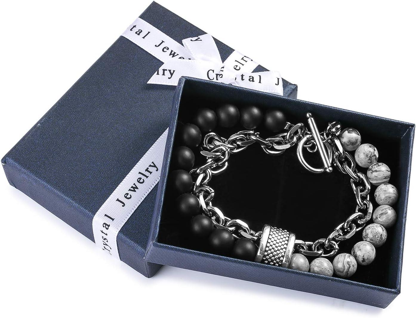 bracelets pour avec cartes en couches superpos/ées cha/înes en acier inoxydable argent/é,/élastique pour cadeaux damiti/é pr/éf/ér/és des gar/çons adolescen Bracelet homme noir mat en perles de pierre