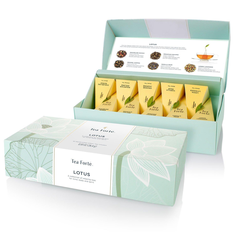 Tea Forté LOTUS Petite Presentation Box with 10 Handcrafted Pyramid Tea Infusers - Black Tea, Green Tea, Oolong Tea, White Tea, Herbal Tea