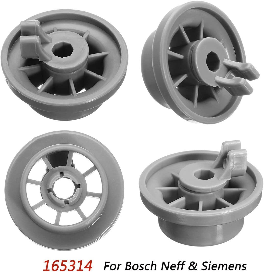 MAYITOP 4Pcs Dishwasher Lower Rack Basket Wheel Roller For Bosch Neff & Siemens AP2802428, PS3439123,165314