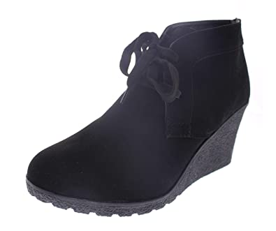 Amazon.com | Via Rosa Lace Up Wedge Booties for Women, Platform Ankle Boots, Cute Flat Wedges Shoes Black Size 7 US | Ankle & Bootie
