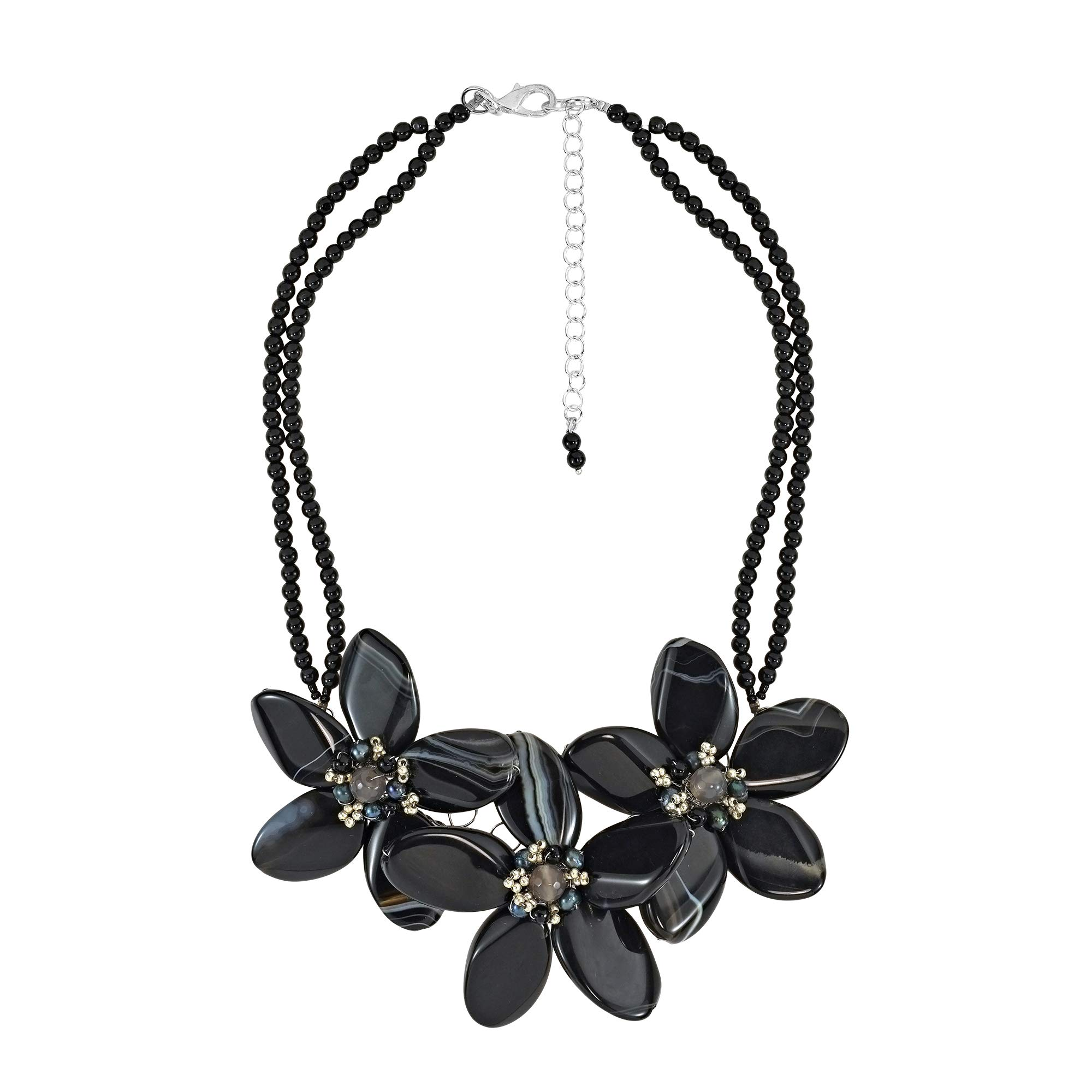 AeraVida Reconstructed Agate Flower & Cultured Freshwater Black Pearl Center Collar Necklace