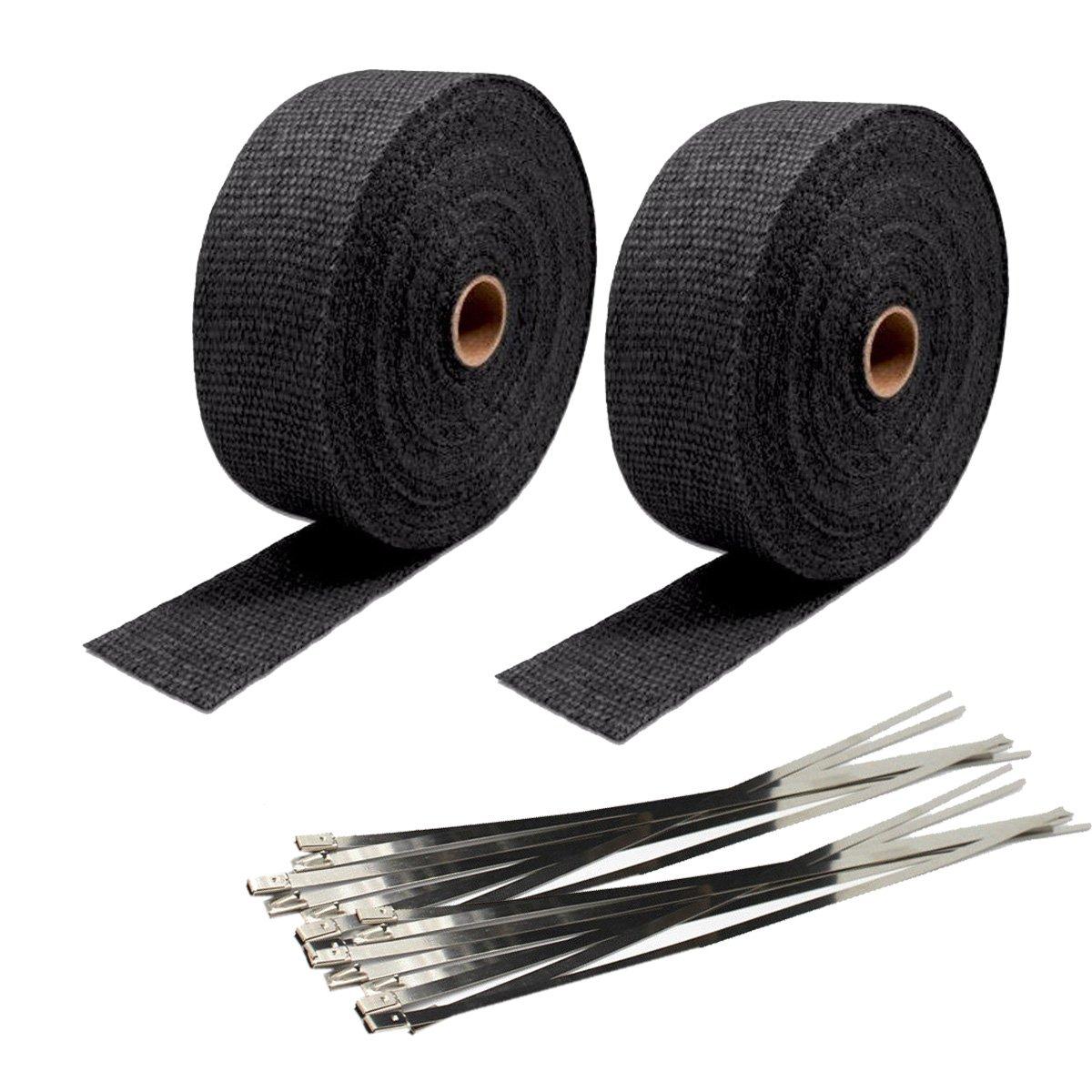 2 Roll 2''x50' Black Fiberglass Exhaust Heat Wrap Heat Shield Sleeve with Stainless Steel Zip Ties (Pack of 20)