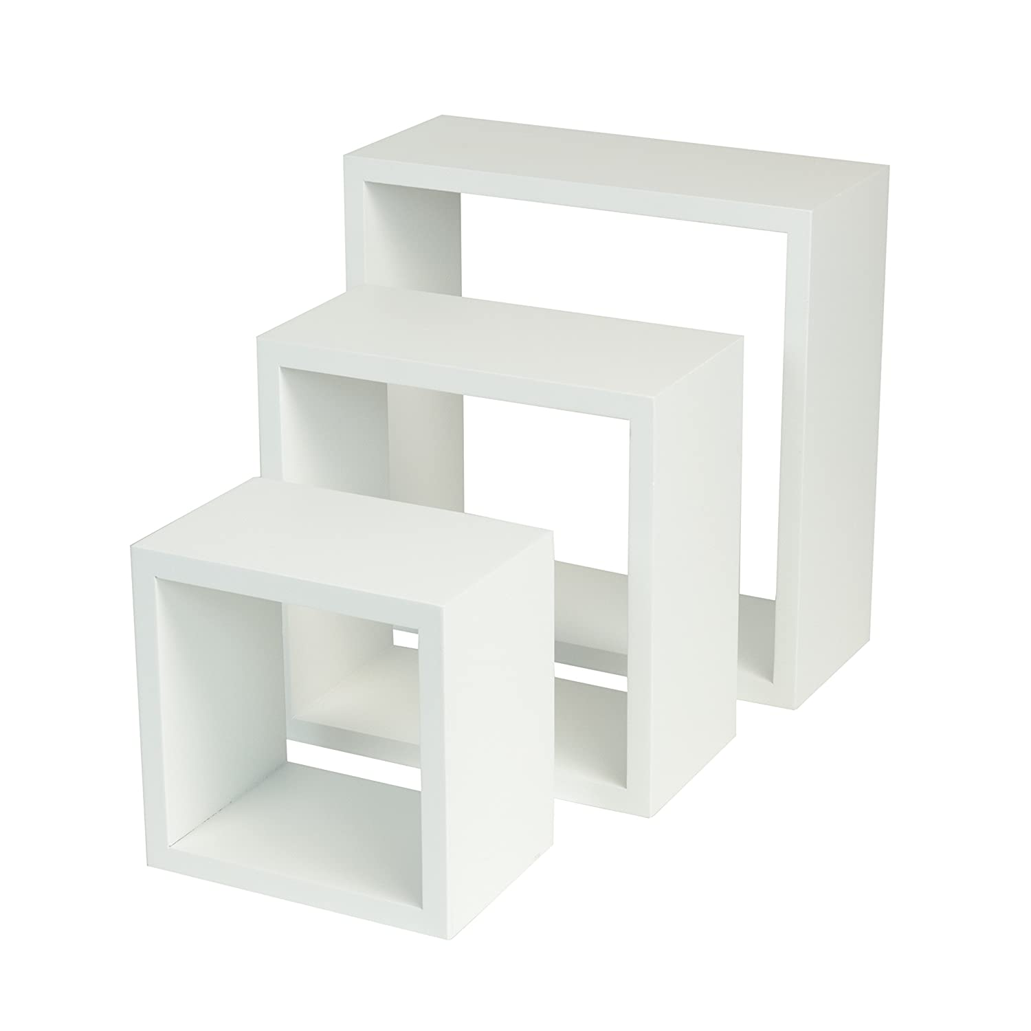 Amazon.com: WALLNITURE Modern Home Decor Square Cube Floating Wall Shelf  White Set of 3: Home & Kitchen