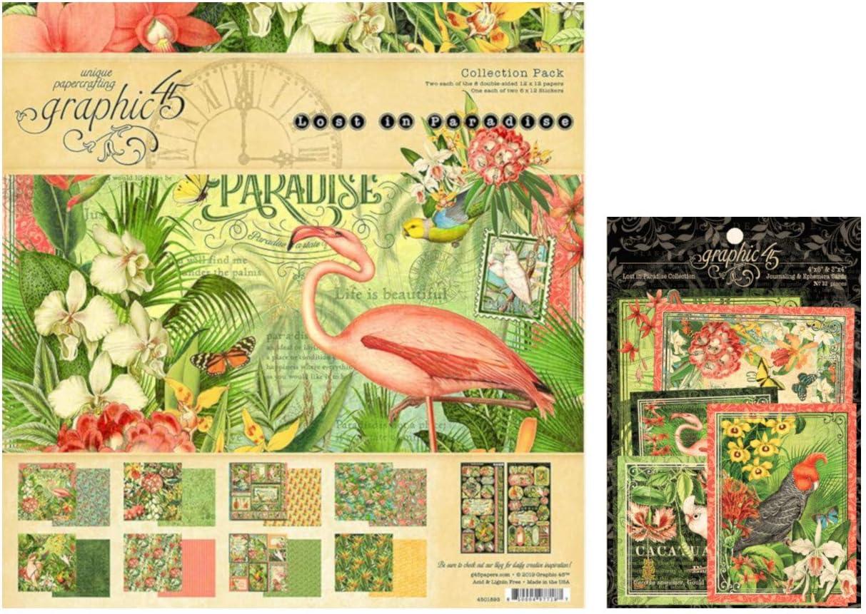 Graphic 45 Lost in Paradise Collection Set: 12x12 Collection Pack Plus Tarjetas de Ephemera: Amazon.es: Juguetes y juegos