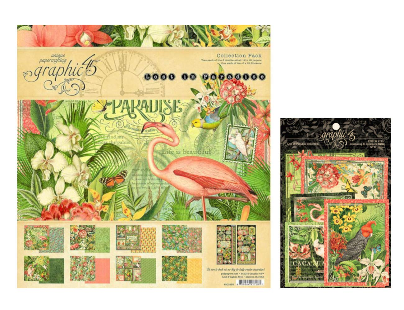 Graphic 45 Lost in Paradise Collection Set: 12x12 Collection Pack Plus Ephemera Cards
