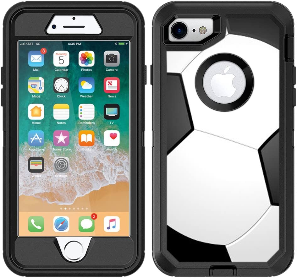 Teleskins Protective Designer Vinyl Skin Decals/Stickers Compatible with Otterbox Defender iPhone 8 / iPhone 7 / SE 2020 Case - Soccer Design Patterns - only Skins and not Case