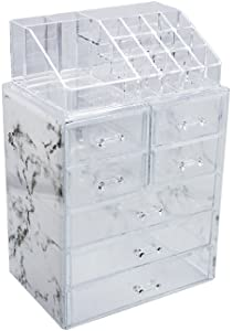 Sorbus Luxe Marble Cosmetic Makeup and Jewelry Storage Case Display - Spacious Design - Great for Bathroom, Dresser, Vanity and Countertop (3 Large, 4 Small Drawers, Marble Print)